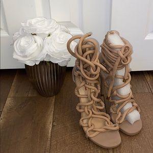 Blush Wild Pair Lace Up Sandals